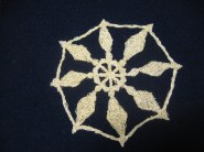 Big snowflake sewn onto the felt background